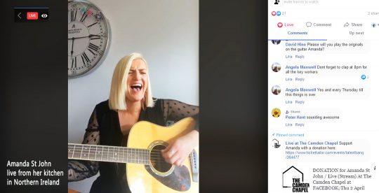 Amanda St John live streams during lock-down